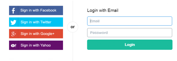Example mockup of a single sign-on login screen wth social media